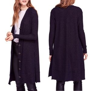 Free People Sparkly Long Button Front Duster Cardi